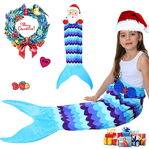 Kids Mermaid Tail Blanket with Scale Pattern,Girls Mermaid All Season Sleeping Blankets,Kids' Bedding Toys Sleep Bags Comforter for Air Condition Sofa,Home,Travel,Camping Birthday Gifts (2Blue Petal)