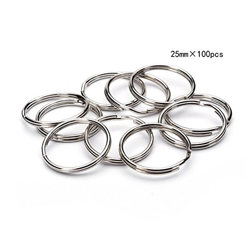 BRCbeads TOP Quality 25mm Nickle Plated Round Edge Split Key Chain Ring 100pcs per Bag (1 inch) - Edge Key Ring