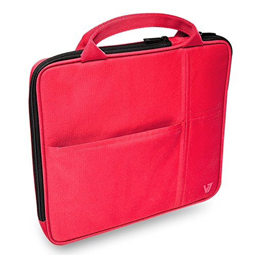 "V7 All-in-one Tablet Sleeve Bag Case with Carrying Handle for iPad Air, iPad Mini 3, Amazon Kindle, Galaxy, Nexus, 7"" to 9.7"" Android and Windows Tablet PCs (TA20RED-1N)   - Red"