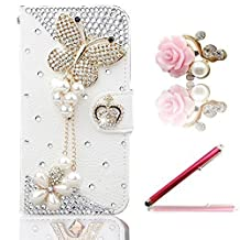Vandot 3in1 Set Case for Samsung Galaxy Grand Prime G530H G5308W Smartphone,3D Bling Lovely Elegant Diamond Flower Butterfly Tassel Cover,High Quality PU Leather Magnetic Closure Flip Stand Wallet Cover With Credit Card holder+Universal Flower Anti Dust Plug+Stylus Screen Touch Pen-White