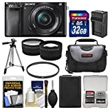 Cheap Sony Alpha A6000 Wi-Fi Digital Camera & 16-50mm Lens with 32GB Card + Case + Battery/Charger + Tripod + Filter + Tele/Wide Lens Kit