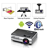 Mini Wireless LED Movie Projector 2800 Lumens WiFi Bluetooth HDMI LCD Portable HD Smart Android Video Projector with Built-in Speaker USB Support 1080P Home Theater Outdoor Smartphone Gaming TV PS4 PC