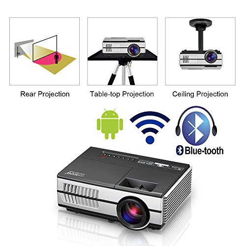 Mini Wireless HDMI Projector Portable Home Theater Smart Wifi Proyector 1500 Lumen Bluetooth Multimedia Outdoor Movie Party Camp Entertainment Projector with Built-in Speaker HDMI USB VGA AV Audio Out