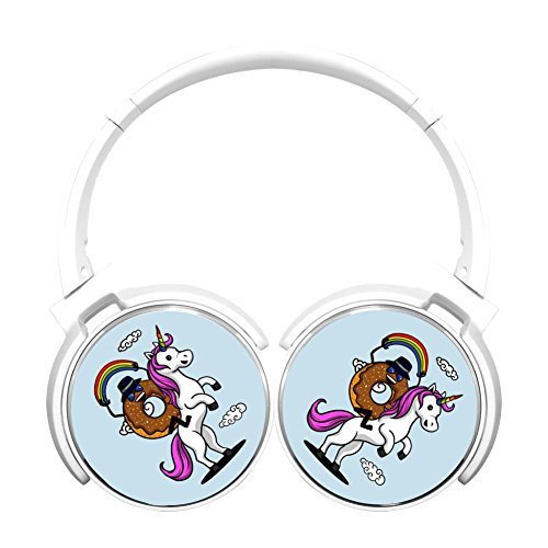 (MagicQ Chocolate Donut Riding A Unicorn Bluetooth Headphones,Hi-Fi Stereo Earphones White)