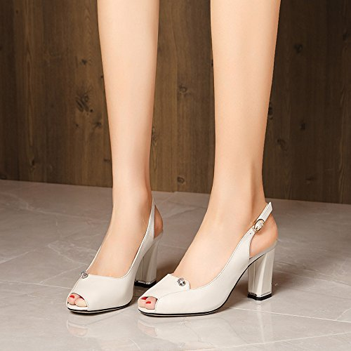 Hauts À hauts Blanc Poisson Sandales White M Bouche Talons Talons Femme Chaussures HUAIHAIZ WXq0Axn