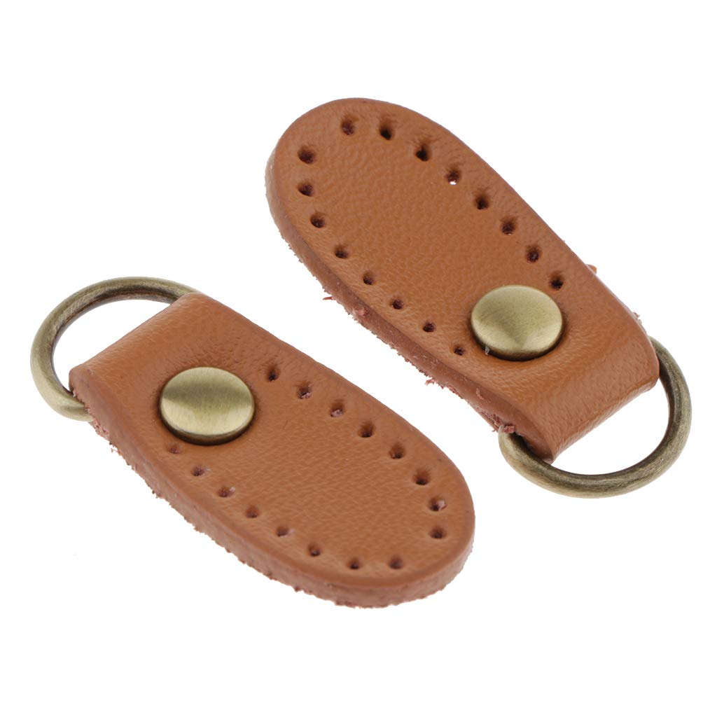 Bonarty 2PCS PU Leather Zipper Pull for Boot Jacket Bag Purse Wallet Replacement Leather Zipper Head Beige