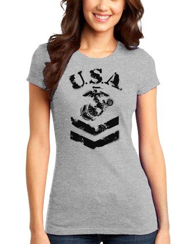 TooLoud USA Military Marine Corps Stencil Logo Juniors T-Shirt - Ash Gray - (Juniors Marines T-shirt)