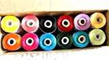 Polysilk Thread / 12 spool /2000 yard each / Mix Colors, For Tassel making/ jewellery making/ Embroidery, Decorative & Lustrous Stitches,Fast Colors AZO free/ Best Quality
