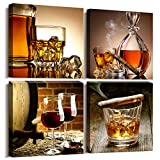 Kitchen Wall Decor Canvas Art Still Life Wine Glass Wall Art Decor Ready to Hang Home Decoration Bedroom Dining Room Pub Wall Mural Artwork 12' x 12' 4 Pieces Framed Canvas Posters Prints Painting