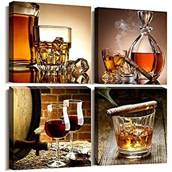 Kitchen Wall Decor Canvas Art Still Life Wine Glass Wall Art Decor Ready to Hang Home Decoration Bedroom Dining Room Pub Wall Mural Artwork 12