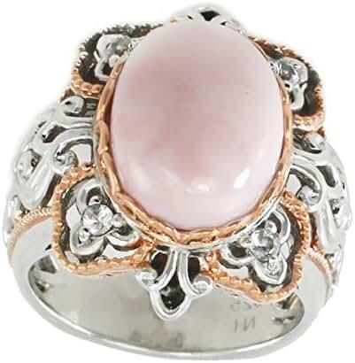 Michael Valitutti Palladium Silver Pink Opal & White Sapphire Ring