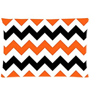 chevron Orange, Black And White Custom Zippered Pillow Cases 16x24 (Two sides)