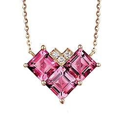 Rose Gold Pink Tourmaline Diamond Pendant