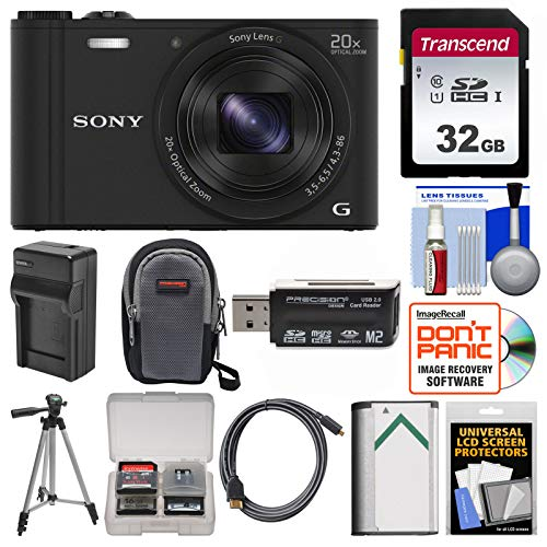 - Sony Cyber-Shot DSC-WX350 Digital Camera (Black) with 32GB Card + Case + Battery/Charger + Tripod + HDMI Cable Kit
