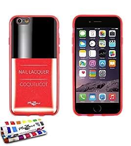 Carcasa Flexible Ultra-Slim APPLE IPHONE 6 4.7 POUCES  de exclusivo motivo [Amapola laca de uñas] [Roja] de MUZZANO  + ESTILETE y PAÑO MUZZANO REGALADOS - La Protección Antigolpes ULTIMA, ELEGANTE Y DURADERA para su APPLE IPHONE 6 4.7 POUCES