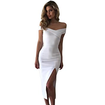 Amazon.com  ZYooh Midi Dress Women Off Shoulder Sleeveless Cocktail Split  The Fork Dress Evening Party Work Style (White 6fad6f2a8