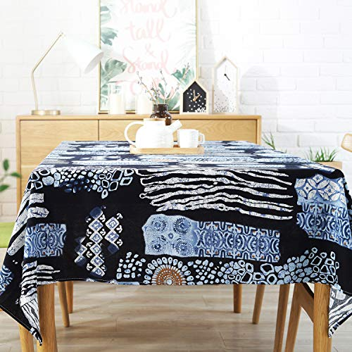 Sigetree Modern Cotton Linen Tablecloth,Rectangular Washable Table Cover for Home Dinner Kitchen Decor Spring Tablecloth Holiday Party Table linens (Oriental Eastern Pattern, 55 Inch x 86 Inch)