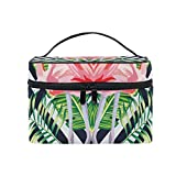 Tropical Couple Flamingo Makeup Case Versatile Portable Cosmetic Bag Travel Hanging Toiletry Pouch Organizer for Women Girls