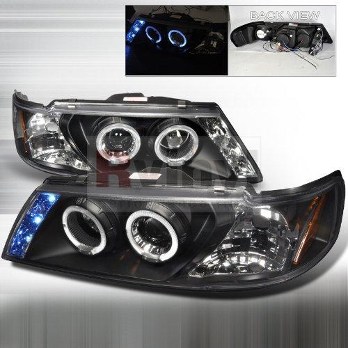 Spec-D Tuning Nissan Sentra 1995 1996 1997 1998 1999 LED Halo Projector Headlights - Black - 200sx Halo Headlights