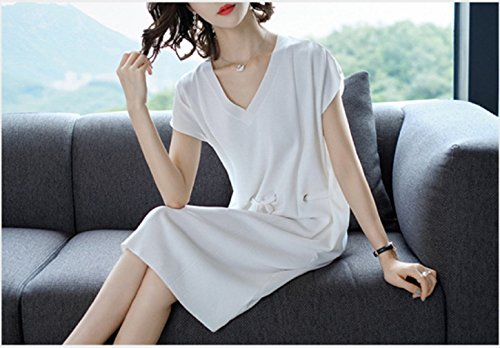 Dress Knit Casual cotyledon White Sleeve Dresses Color Women`S Short Solid nBaS8Bx