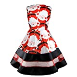 Womens Dresses Liraly Clearance Santa Snowman Christmas Dress Sleeveless Xmas Swing Retro Dresses (L, Red)