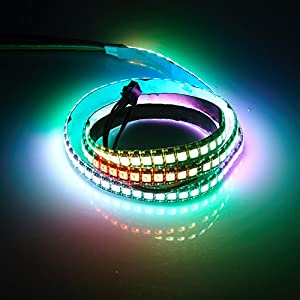 LED Strip Waterproof Addressable 5050 RGB APA102C 144 LEDs DC 5V 1Meter 3.2Feet Color Changing programmable Black PCB TARGOPOP
