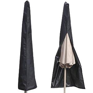 AISHN Waterproof UV-Resistant 600D Patio Umbrella Zipper Cover fit 6ft to 11ft Umbrellas Canopy Patio Garden Outdoor