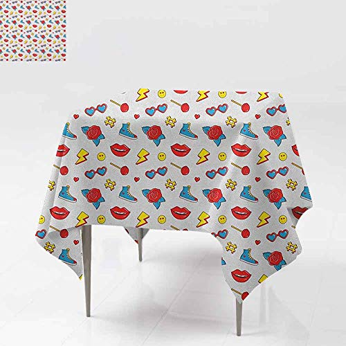 AndyTours Spill-Proof Table Cover,Emoji,Hipster Pop Art Theme 90s Fashion Comic Book Figures Lollipop Shoes Lips Roses,Party Decorations Table Cover Cloth,36x36 Inch Yellow Red Blue -