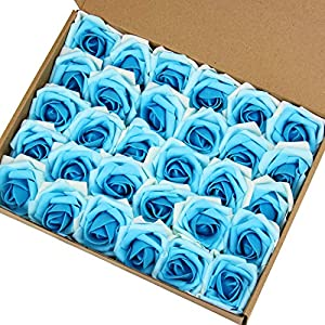 Marry Acting Artificial Flower Rose, 30pcs Real Touch Artificial Roses for DIY Bouquets Wedding Party Baby Shower Home Decor (Gradual Flower Blue) 15