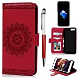 MOLLYCOOCLE iPhone 7 Plus, iPhone 8 Plus Case,Stand Wallet Premium PU Leather Kickstand Magnetic Totem Florals Card Holder Flip Folio Protective Cover for iPhone 7 Plus, iPhone 8 Plus, Red