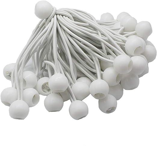 "100 6/"" White Ball BUNGEE Cord Tarp Bungee Tie Down Strap Bungi Canopy Straps"