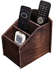 Rustic 3-Slot Wooden Remote Control Holder – Caddy Holder for Multimedia, Office or Desk Supplies – Modern Farmhouse Décor for Living Room