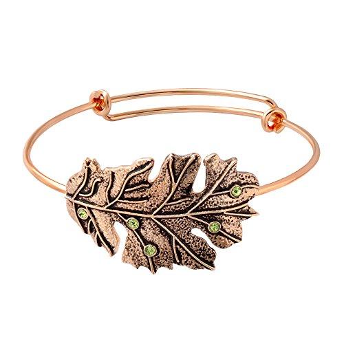 SENFAI New Fashion Antique 3 Colors Female Jewelry Wire Expandable Bangle Bracelet Adjustable Elegant Crystal Tree Leaves Bracelet