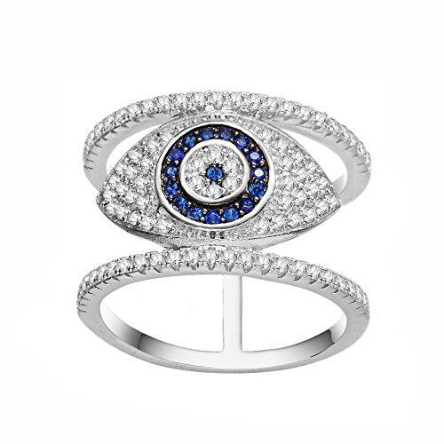 KIVN Fashion jewelry Spiritual Tiny Pave Evil eye CZ Cubic Zirconia Finger Rings for Women (8)