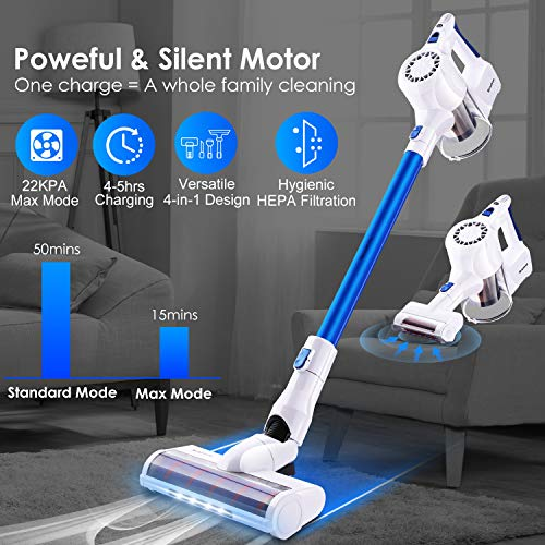 Cordless Vacuum Cleaner, 22KPa Powerful Suction Lightweight Stick Vacuum Simpfree