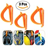 S002 Orange Color 3 Pcs Glove Grabber Clip Holder Guard Work Safety Clip Glove Keeper Safety Clips for Helmet, Earmuff, Mask, Cable, Cord, Rope Hunging in Hook Belt Clip (3 PCS PACK)