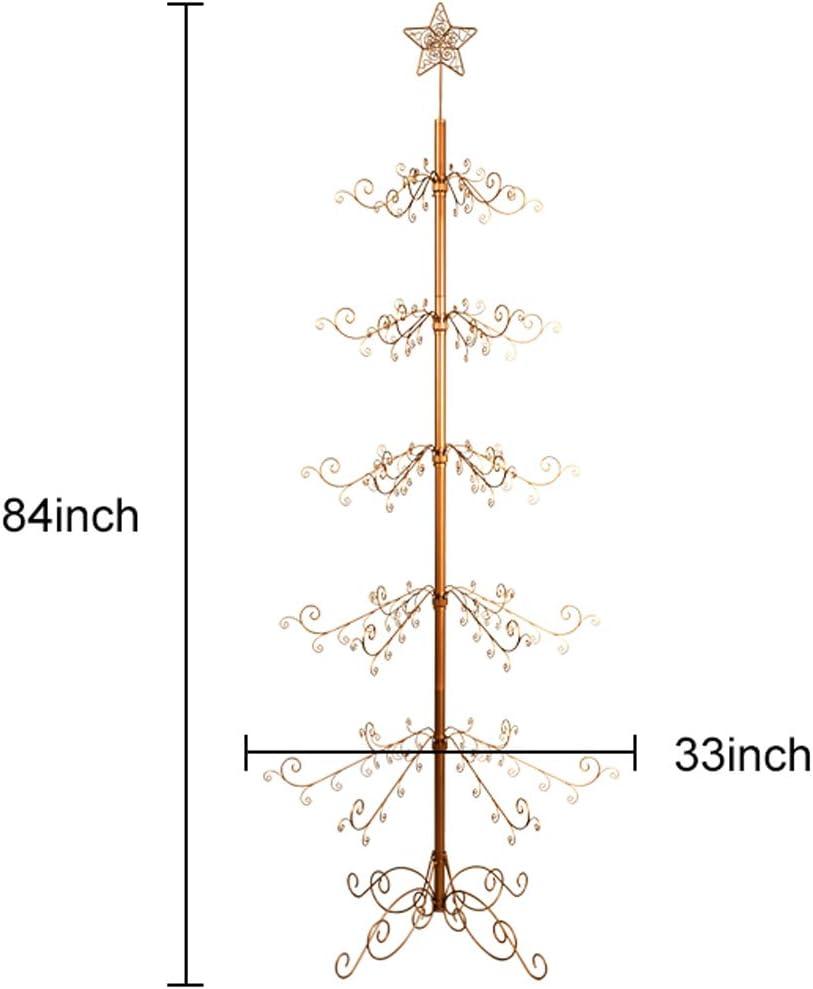 HOHIYA Christmas Tree Xmas Wrought Iron Display Stand Metal Ornament 7 to 8 Feet Gold