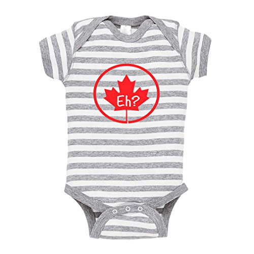 Red Canada Leave EH Canadian Baby Combed Ring-Spun Cotton Stripe Fine Bodysuit One Piece - White Gray, 18 Months (Merchandise Canada)