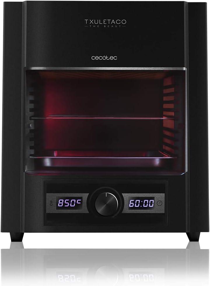 Cecotec Txuletaco The Beast 6850, Horno para asado, hasta 850°C, con 2000W de Potencia, con Parrilla de Acero Inoxidable, Bandeja recogegrasas y Sistema de Temperatura y Tiempo Regulables, Black