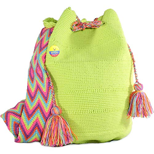 (Wayuu Mochila Bags Crochet Purse Woven Hand Made 100% Cotton Summer Bag Authentic Colombian boho Bags Colorful Crossbody travel)