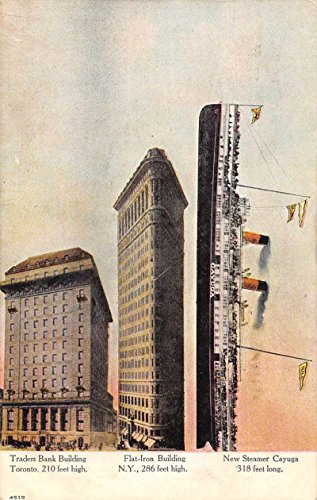 (New Steamer Cayuga Flat Iron Building Traders Bank Antique Postcard J74985)