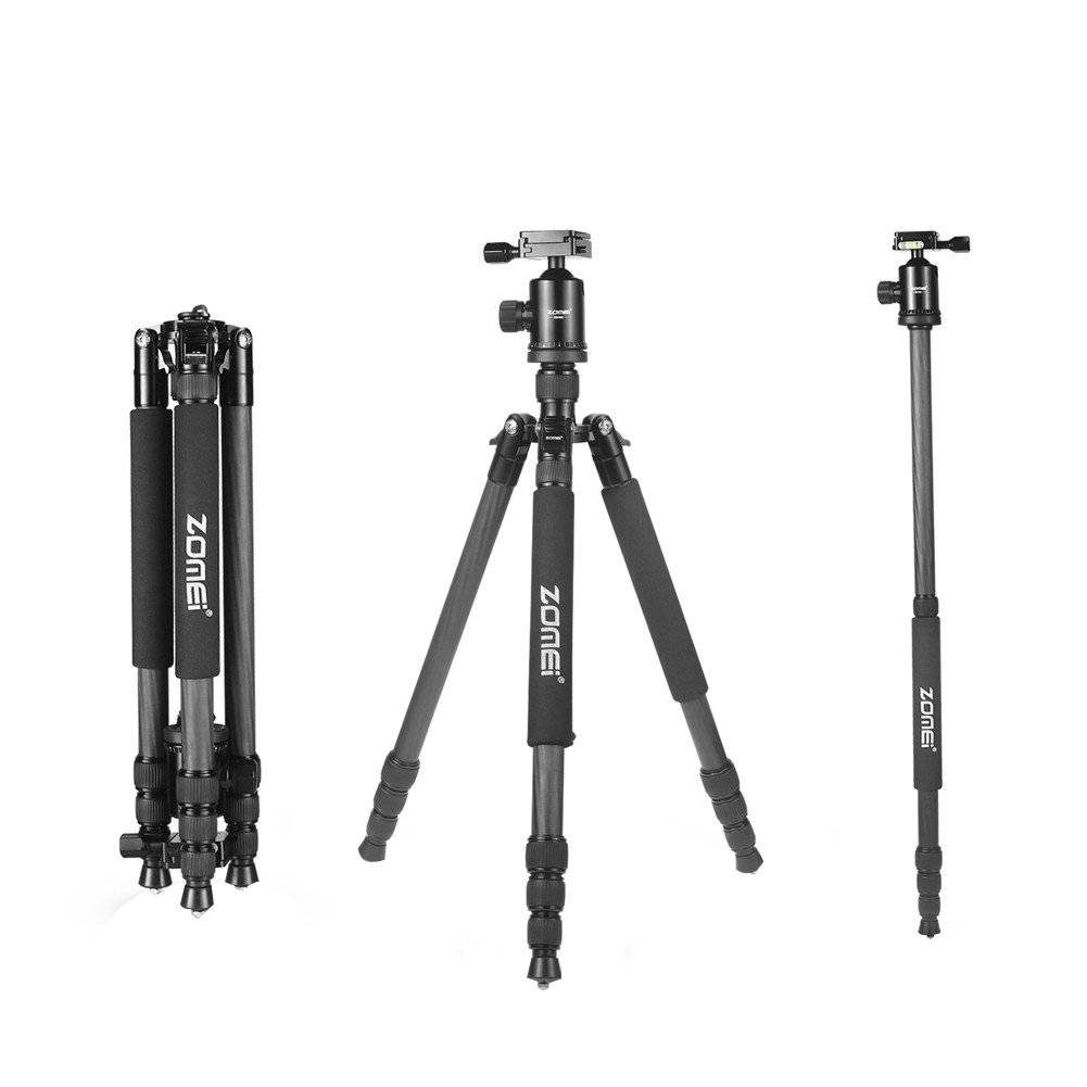 ZOMEI ZM-HR-Z818C-BLACK -01 Carbon Fiber Travel Tripod For Canon Sony Nikon DSLR Cameras, Black