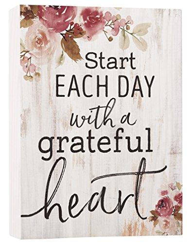 (P. Graham Dunn Start Day Grateful Heart Floral Whitewash 7.5 x 5.5 Solid Wood Barnhouse Block)