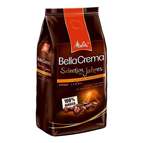 Melitta Ganze Kaffeebohnen, 100 % Arabica, würzig mit zartherber Kakaonote, mittlerer Röstgrad, Stärke 3-4, BellaCrema, Selection des Jahres 2016, 1000 g