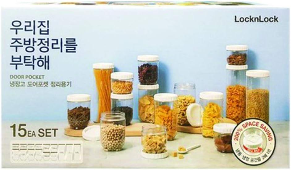 LOCK&LOCK Interlock Set 15p Refrigerator Door Organizer Airtight Food Storage Container
