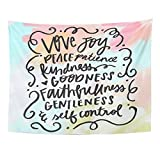 Breezat Tapestry Lettering Fruit of the Spirit Bible Verse Christian Wall Love Home Decor Wall Hanging for Living Room Bedroom Dorm 60x80 Inches