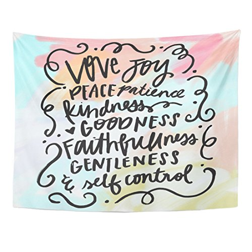 Breezat Tapestry Lettering Fruit of the Spirit Bible Verse Christian Wall Love Home Decor Wall Hanging for Living Room Bedroom Dorm 60x80 Inches by Breezat