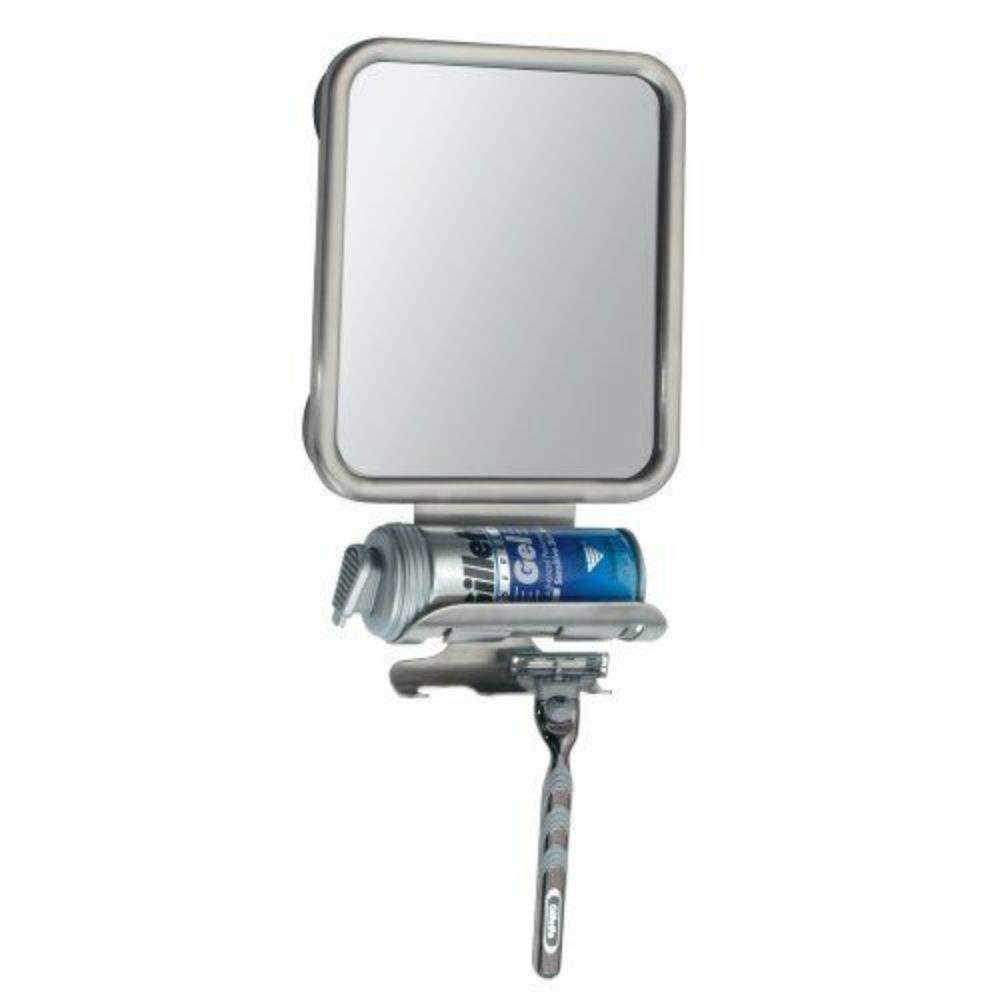 Bathroom Shower Suction Fog Free Mirror Razor Holder Brushed