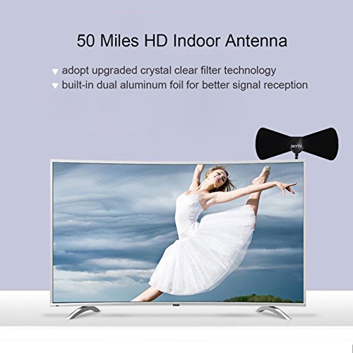 HDTV Antenna Best 35 Mile Range Digital Indoor Antenna with 10 Feet Coax Cable High Reception TV Antenna