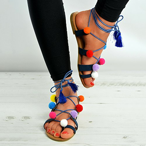 Cucu Fashion - Zapatos con tacón mujer azul marino